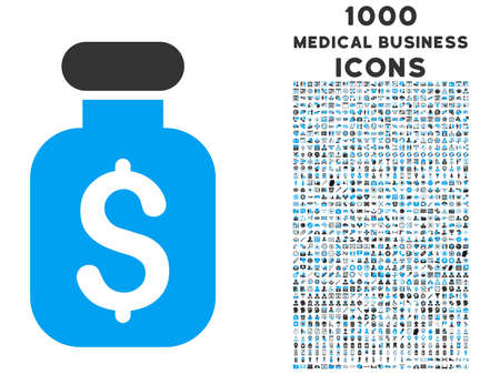 Business Remedy vector bicolor icon with 1000 medical business icons. Set style is flat pictograms, blue and gray colors, white background.