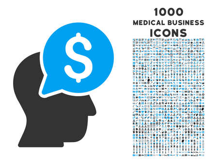 economist: Businessman Think vector bicolor icon with 1000 medical business icons. Set style is flat pictograms, blue and gray colors, white background. Illustration