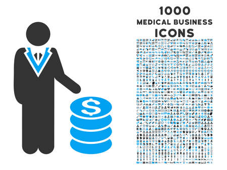 economist: Businessman vector bicolor icon with 1000 medical business icons. Set style is flat pictograms, blue and gray colors, white background.