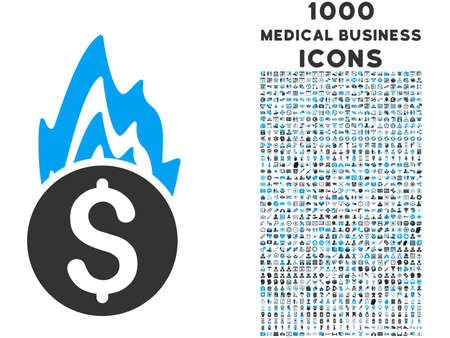 fire damage: Fire Damage vector bicolor icon with 1000 medical business icons. Set style is flat pictograms, blue and gray colors, white background.