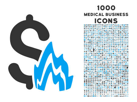 Fire Disaster vector bicolor icon with 1000 medical business icons. Set style is flat pictograms, blue and gray colors, white background.