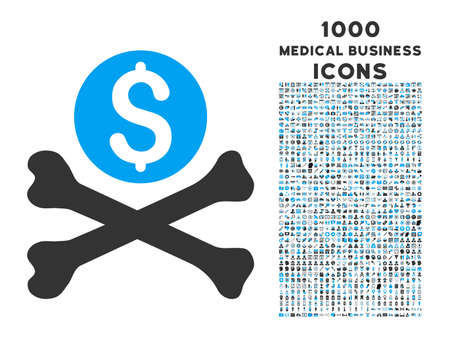 Mortal Debt vector bicolor icon with 1000 medical business icons. Set style is flat pictograms, blue and gray colors, white background. Illustration