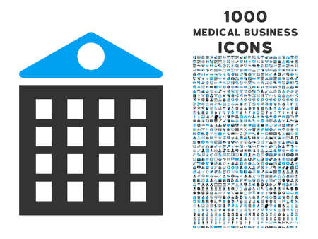 multistorey: Multi-Storey House vector bicolor icon with 1000 medical business icons. Set style is flat pictograms, blue and gray colors, white background.