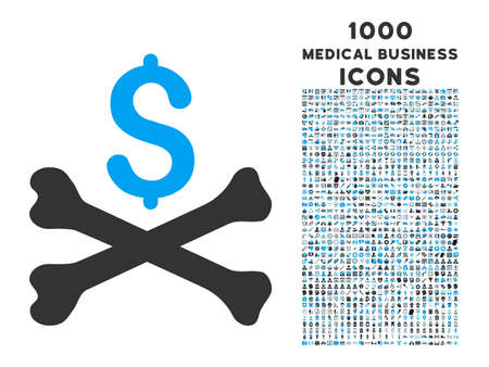 mortal: Mortal Debt glyph bicolor icon with 1000 medical business icons. Set style is flat pictograms, blue and gray colors, white background.