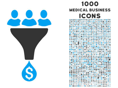 Sales Funnel glyph bicolor icon with 1000 medical business icons. Set style is flat pictograms, blue and gray colors, white background. Stock Photo