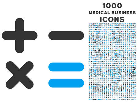 Calculator vector bicolor icon with 1000 medical business icons. Set style is flat pictograms, blue and gray colors, white background.