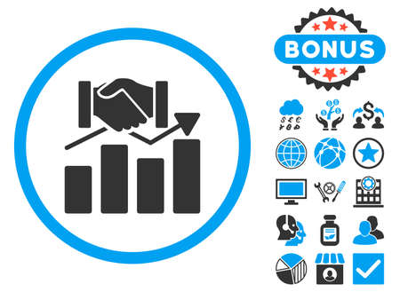 acquisition: Acquisition Graph icon with bonus. Vector illustration style is flat iconic bicolor symbols, blue and gray colors, white background.