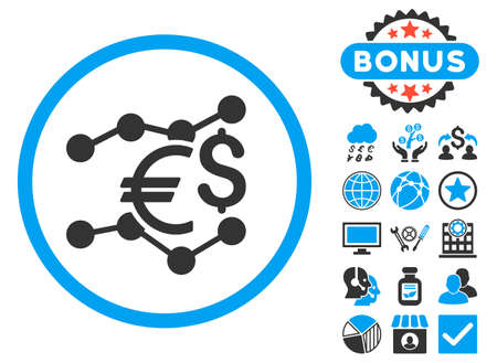 Currency Trends icon with bonus. Vector illustration style is flat iconic bicolor symbols, blue and gray colors, white background. Illustration
