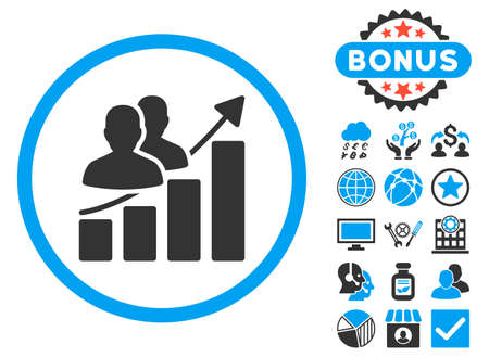 Audience Growth Chart icon with bonus. Vector illustration style is flat iconic bicolor symbols, blue and gray colors, white background.