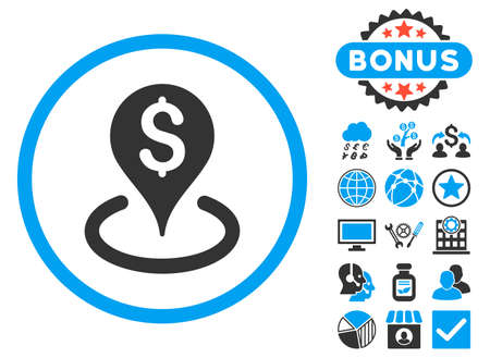 geo: Geo Targeting icon with bonus. Vector illustration style is flat iconic bicolor symbols, blue and gray colors, white background.