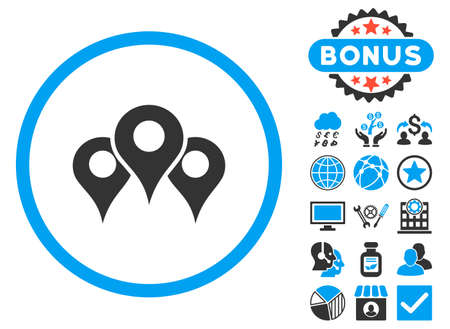 locations: Locations icon with bonus. Vector illustration style is flat iconic bicolor symbols, blue and gray colors, white background.
