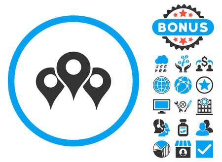 Ubicaciones icono con bonificación. ilustración vectorial estilo es llano bicolor símbolos icónicos, colores azul y gris, fondo blanco.