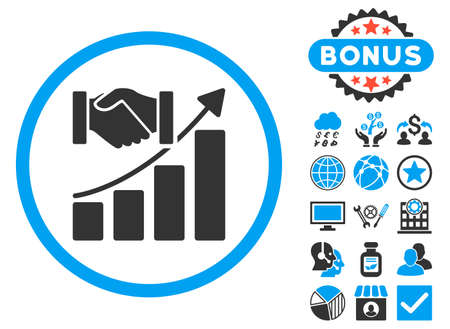 acquisition: Acquisition Growth icon with bonus. Vector illustration style is flat iconic bicolor symbols, blue and gray colors, white background. Illustration