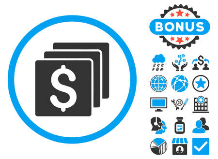 Finances icon with bonus. Vector illustration style is flat iconic bicolor symbols, blue and gray colors, white background.