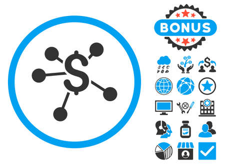 distribute: Money Emission icon with bonus. Vector illustration style is flat iconic bicolor symbols, blue and gray colors, white background. Illustration