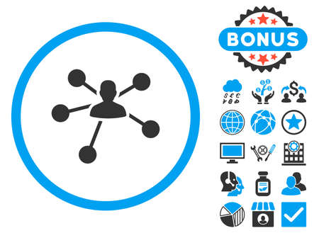Person Relations icon with bonus. Vector illustration style is flat iconic bicolor symbols, blue and gray colors, white background.