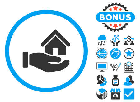 Real Estate icon with bonus. Vector illustration style is flat iconic bicolor symbols, blue and gray colors, white background. Illustration