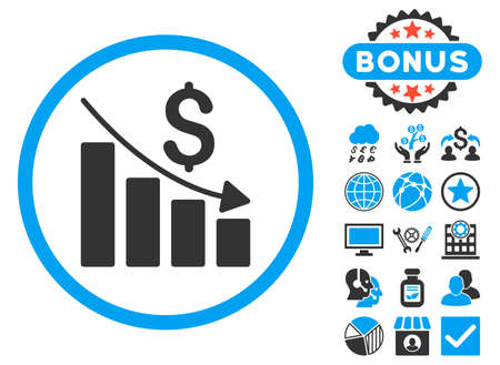 Recession Chart icon with bonus. Vector illustration style is flat iconic bicolor symbols, blue and gray colors, white background. Illustration