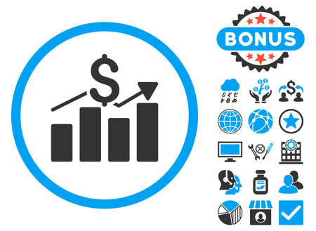 Sales Chart icon with bonus. Vector illustration style is flat iconic bicolor symbols, blue and gray colors, white background.