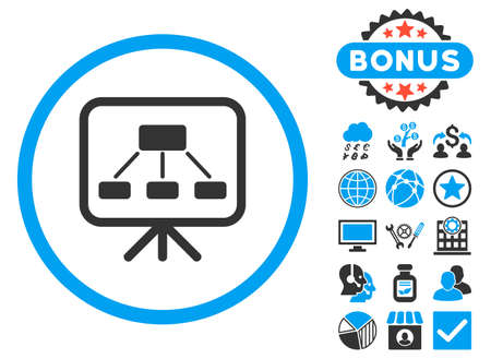 Scheme Screen icon with bonus. Vector illustration style is flat iconic bicolor symbols, blue and gray colors, white background. Illustration