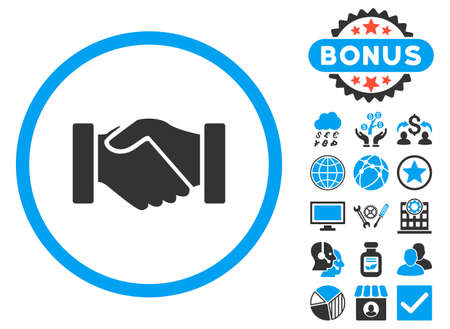 acquisition: Acquisition Handshake icon with bonus. Glyph illustration style is flat iconic bicolor symbols, blue and gray colors, white background.