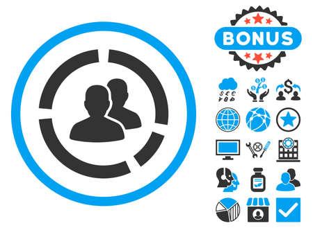 demografia: Demography Diagram icon with bonus. Glyph illustration style is flat iconic bicolor symbols, blue and gray colors, white background. Foto de archivo