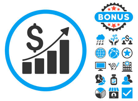 sales growth: Sales Growth icon with bonus. Glyph illustration style is flat iconic bicolor symbols, blue and gray colors, white background.