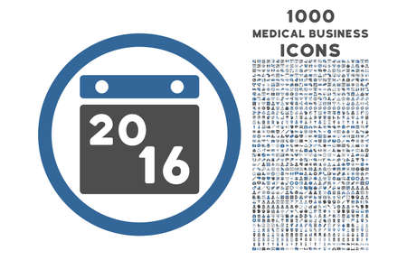 cobalt: 2016 Calendar rounded glyph bicolor icon with 1000 medical business icons. Set style is flat pictograms, cobalt and gray colors, white background.