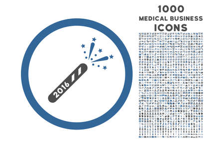 cobalt: 2016 Firecracker rounded glyph bicolor icon with 1000 medical business icons. Set style is flat pictograms, cobalt and gray colors, white background.