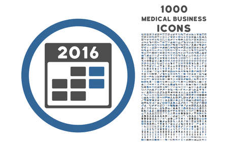 cobalt: 2016 Month Calendar rounded glyph bicolor icon with 1000 medical business icons. Set style is flat pictograms, cobalt and gray colors, white background.