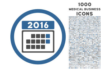 cobalt: 2016 Month Calendar rounded vector bicolor icon with 1000 medical business icons. Set style is flat pictograms, cobalt and gray colors, white background.