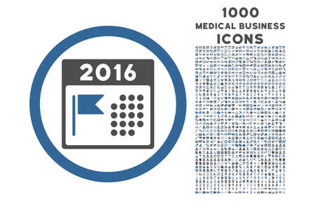 flagged: 2016 Holiday Calendar rounded vector bicolor icon with 1000 medical business icons. Set style is flat pictograms, cobalt and gray colors, white background. Illustration