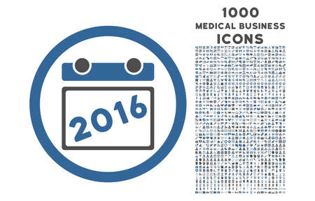 cobalt: 2016 Calendar rounded vector bicolor icon with 1000 medical business icons. Set style is flat pictograms, cobalt and gray colors, white background.