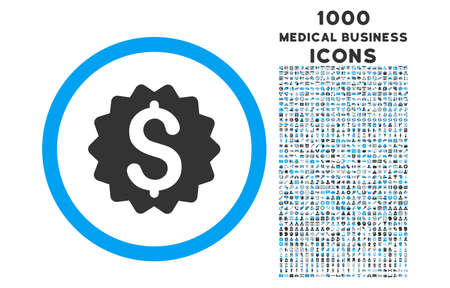 financial reward: Financial Reward Seal rounded glyph bicolor icon with 1000 medical business icons. Set style is flat pictograms, blue and gray colors, white background.