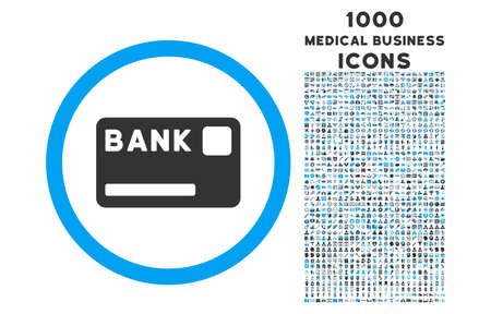 bank card: Bank Card rounded vector bicolor icon with 1000 medical business icons. Set style is flat pictograms, blue and gray colors, white background. Illustration