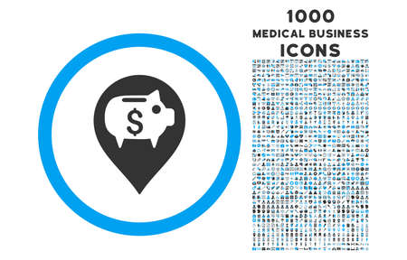 financial position: Bank Pointer rounded vector bicolor icon with 1000 medical business icons. Set style is flat pictograms, blue and gray colors, white background. Illustration