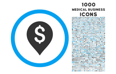 financial position: Banking Map Marker rounded vector bicolor icon with 1000 medical business icons. Set style is flat pictograms, blue and gray colors, white background.