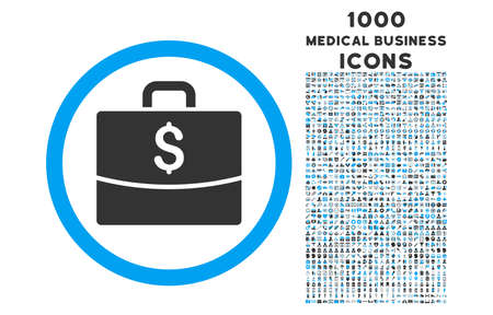business case: Business Case rounded vector bicolor icon with 1000 medical business icons. Set style is flat pictograms, blue and gray colors, white background.
