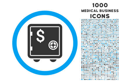 strong box: Banking Safe rounded vector bicolor icon with 1000 medical business icons. Set style is flat pictograms, blue and gray colors, white background.