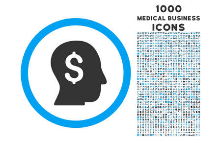 stockbroker: Businessman rounded vector bicolor icon with 1000 medical business icons. Set style is flat pictograms, blue and gray colors, white background.