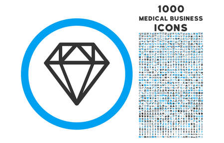 gemstone: Diamond rounded vector bicolor icon with 1000 medical business icons. Set style is flat pictograms, blue and gray colors, white background.