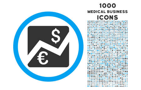 stockmarket chart: Euro Dollar Chart rounded vector bicolor icon with 1000 medical business icons. Set style is flat pictograms, blue and gray colors, white background. Illustration