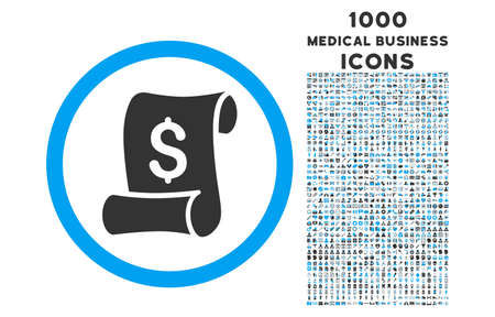 indent: Financial Receipt Roll rounded vector bicolor icon with 1000 medical business icons. Set style is flat pictograms, blue and gray colors, white background.