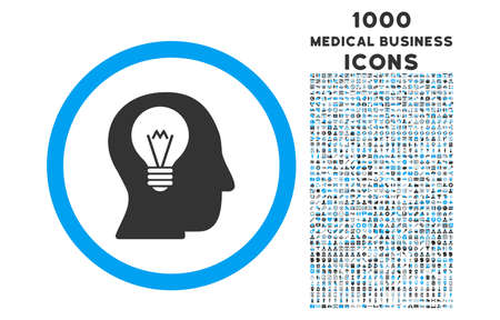 intellect: Intellect Bulb rounded vector bicolor icon with 1000 medical business icons. Set style is flat pictograms, blue and gray colors, white background.