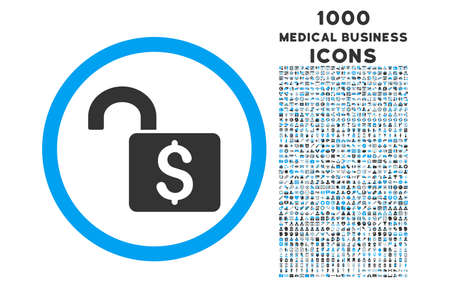 decrypt: Open Banking Lock rounded vector bicolor icon with 1000 medical business icons. Set style is flat pictograms, blue and gray colors, white background.