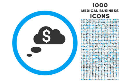 richness: Richness Dream Clouds rounded vector bicolor icon with 1000 medical business icons. Set style is flat pictograms, blue and gray colors, white background.