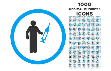 drug dealer: Drug Dealer rounded glyph bicolor icon with 1000 medical business icons. Set style is flat pictograms, blue and gray colors, white background.