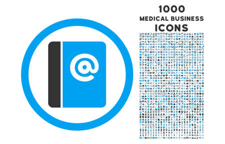 addresses: Emails rounded glyph bicolor icon with 1000 medical business icons. Set style is flat pictograms, blue and gray colors, white background.