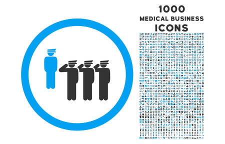 squad: Army Squad rounded vector bicolor icon with 1000 medical business icons. Set style is flat pictograms, blue and gray colors, white background. Illustration