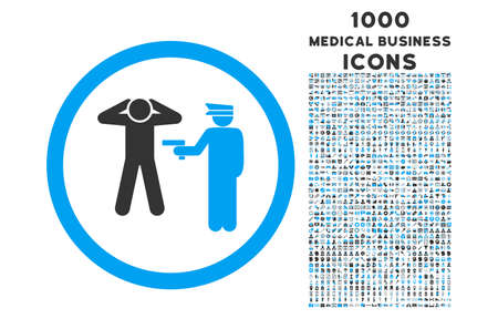 arrest: Arrest rounded vector bicolor icon with 1000 medical business icons. Set style is flat pictograms, blue and gray colors, white background. Illustration